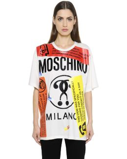 Oversized Labels Printed Jersey T-shirt