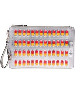 Pill Pack Metallic Faux Leather Clutch