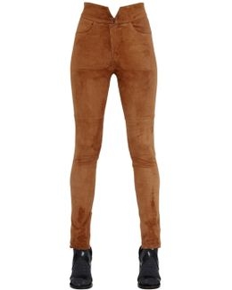 High Waist Stretch Suede Pants