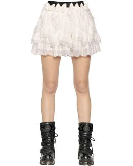 Ruffled Silk Crepe De Chine & Lace Skirt