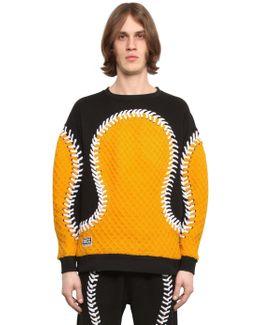 Baseball Seams Cotton Sweatshirt W/ Knit