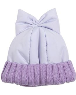Padded Nylon Beanie Hat With Bow