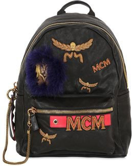 Stark Leather And Genuine Fox Fur Detail Insignia Medium Backpack