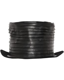Layered Leather On Lapin Felt Top Hat