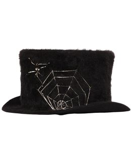 Spider Web Rabbit Fur Top Hat