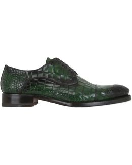 Croc-Embossed Leather Derby Shoes