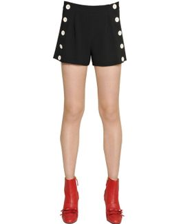 Techno Crepe Shorts With Buttons