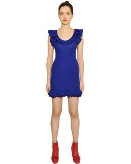 Ruffled Wool Rib Knit Dress
