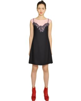 Lace Slip Printed Techno Cady Dress
