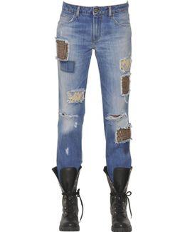 Cotton Denim Jeans W/wool & Lace Patches