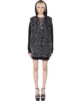 Hooded Faux Fur & Jersey Sweatshirt