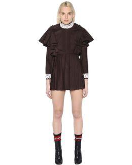 Lace-trimmed Wool-blend Dress