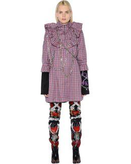 Plaid Cotton Poplin Dress W/chains