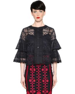 Lace Top With Ruffle Sleeves
