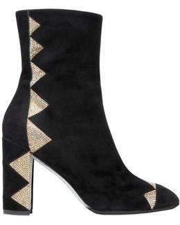 Crystal-Embellished Satin Ankle Boots