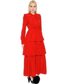 Ruffled Silk Crepe De Chine Dress