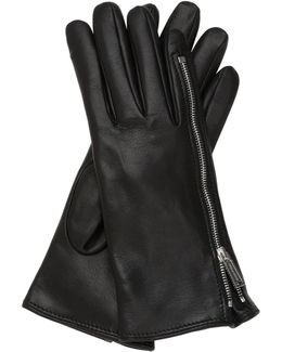 Zip-up Nappa Leather Gloves