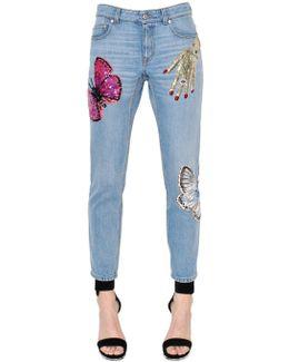 Surreal Embellished Cotton Denim Jeans