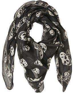 Skull Printed Silk Chiffon Scarf