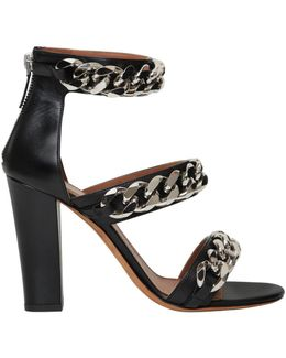 100mm Leather Chained Sandals