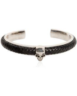Woven Leather & Skull Cuff Bracelet