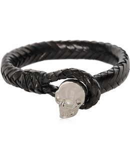 Braided Leather Bracelet With Skull