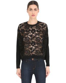 Studded Lace & Knit Sweater