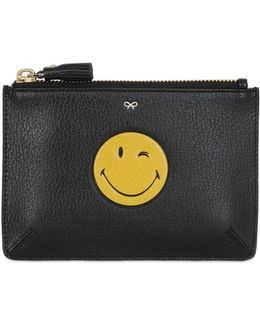 Wink Smiley Embossed Leather Pouch