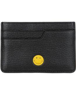 Wink Smiley Leather Card Holder