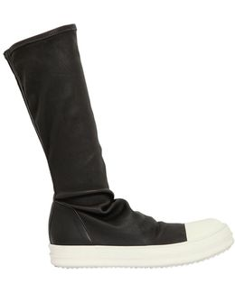 Stretch Leather Sneaker Boots