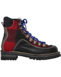 Leather & Plaid Wool Hiking Boots