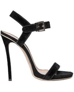 120mm Velvet & Suede Sandals
