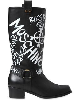 40mm Printed Leather Boots
