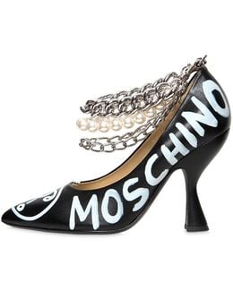 100mm Painted Leather Heels W/ Chains