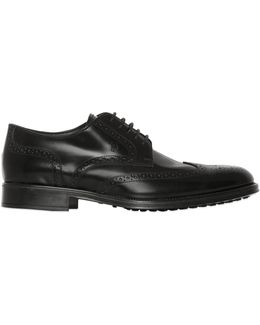 Brushed Leather Brogue Derby Shoes