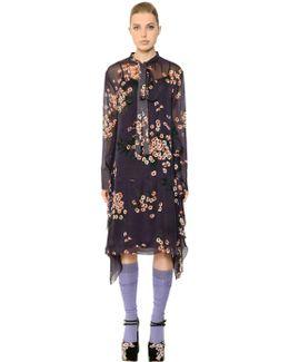 Bow Collar Floral Printed Chiffon Dress
