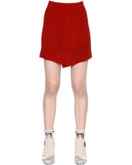 Wrap Effect Stretch Wool Knit Skirt
