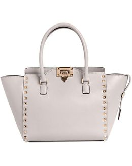 Small Rockstud Leather Top Handle Bag