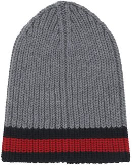 Web Wool Cable Knit Beanie Hat