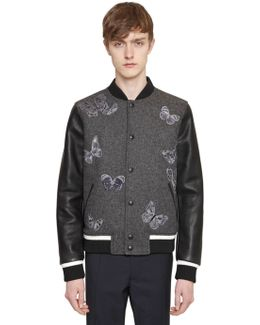 Butterfly Embroidered Bomber Jacket