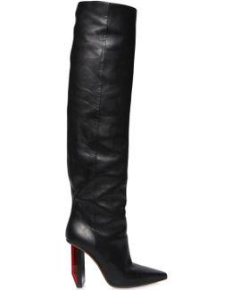 Reflector-Heel Leather Knee-High Boots