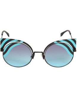 Removable Cat Eye Printed Sunglasses