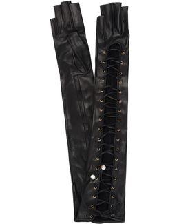 Nappa Long Lace Up On Side Gloves