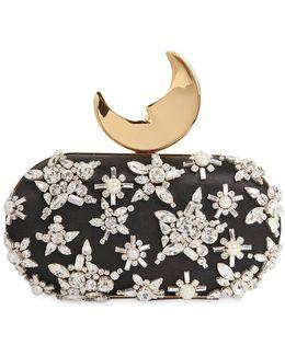 Smiling Moon Embellished Silk Clutch Bag