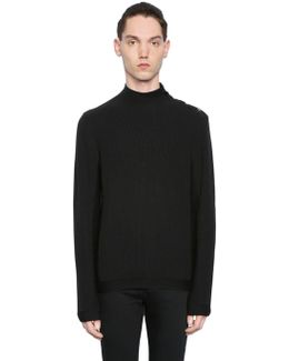 Ribbed Cotton Blend Jersey Sweater