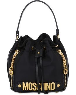 Mini Logo Lettering Nylon Bucket Bag