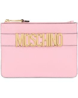 Logo Lettering Leather Pouch