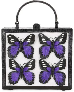 Butterfly Box Caiman Shoulder Bag