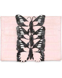 Caiman Bag W/ Butterfly Appliqués
