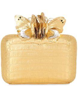 Butterfly Box Caiman Clutch